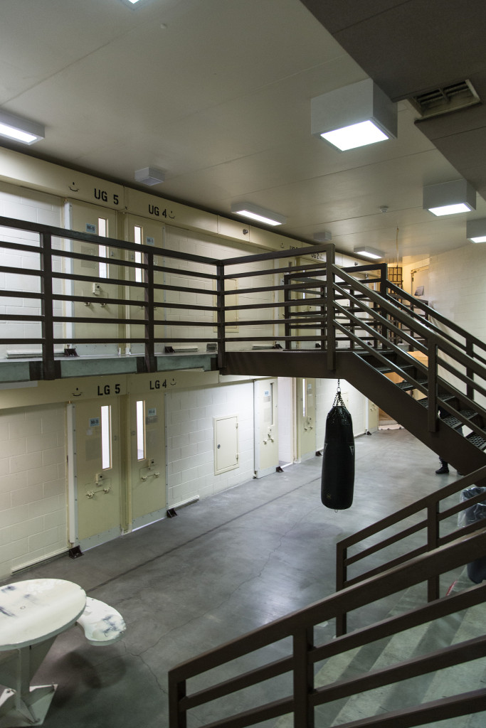 "For good behavior, certain prisoners are allowed out of their cells in Locked Housing Unit 2's ""day room."" According to Montana State Prison policy, ad seg inmates are allowed out of their cells for three showers and five hours in the rec yard per week. - Wes Overvold photo."
