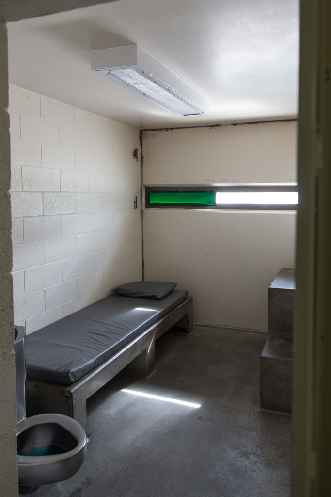 "A vacant administrative segregation, or ""ad seg"" cell in the Montana State Prison's Locked Housing Unit 2, used to isolate dangerous or unruly prisoners. - Wes Overvold photo."
