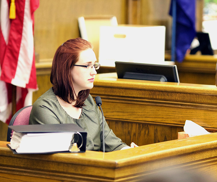 Sarah Arnold, a former National Right to Work Committee staffer, testifies during Republican Rep. Art Wittich's political corruption trial. Photo by Kimberly Reed.