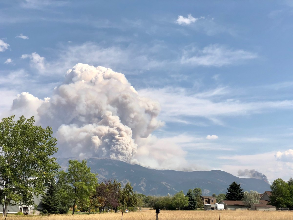 Wildfire plume over Bridger Foothills near Bozeman, MT